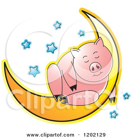 Clipart of a Pig Sleeping on a Crescent Moon - Royalty Free Vector Illustration by Lal Perera
