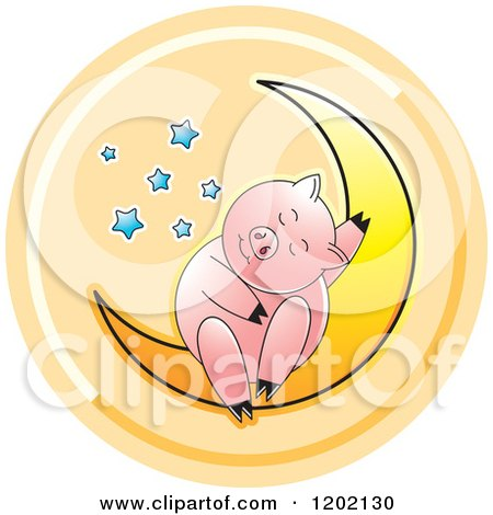 Clipart of a Pig Sleeping on a Crescent Moon Icon - Royalty Free Vector Illustration by Lal Perera