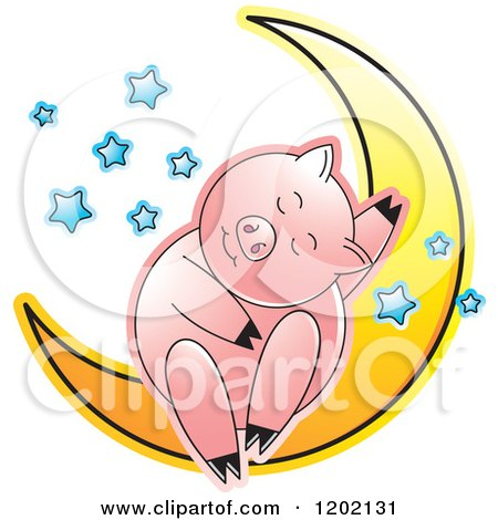 Clipart of a Pig Sleeping on a Crescent Moon 2 - Royalty Free Vector Illustration by Lal Perera