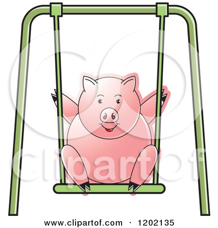 Clipart of a Pig Playing on a Swing - Royalty Free Vector Illustration by Lal Perera