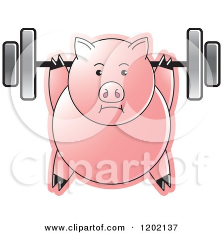 Clipart of a Fit Pig Exercising with a Heavy Barbell - Royalty Free Vector Illustration by Lal Perera