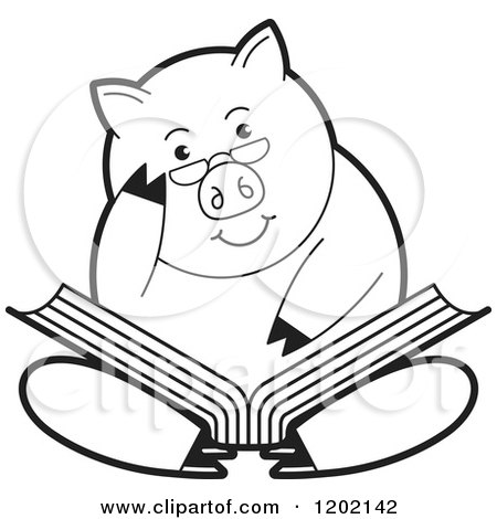 Clipart of a Black and White Pig Sitting and Reading a Book - Royalty Free Vector Illustration by Lal Perera