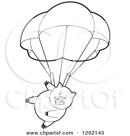 Clipart of a Black and White Pig Parachuting - Royalty Free Vector Illustration by Lal Perera