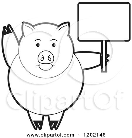 Clipart of a Black and White Pig Waving and Holding a Sign - Royalty Free Vector Illustration by Lal Perera
