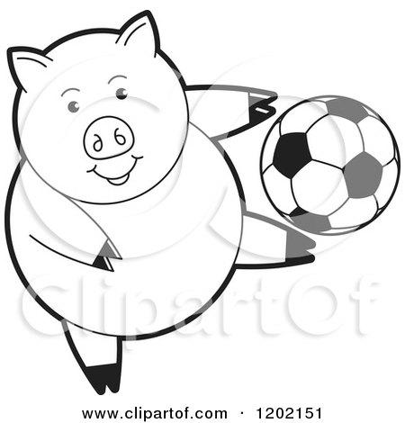 Clipart of a Black and White Sporty Pig Playing Soccer - Royalty Free Vector Illustration by Lal Perera