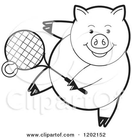 Clipart of a Black and White Sporty Pig Playing Tennis ...