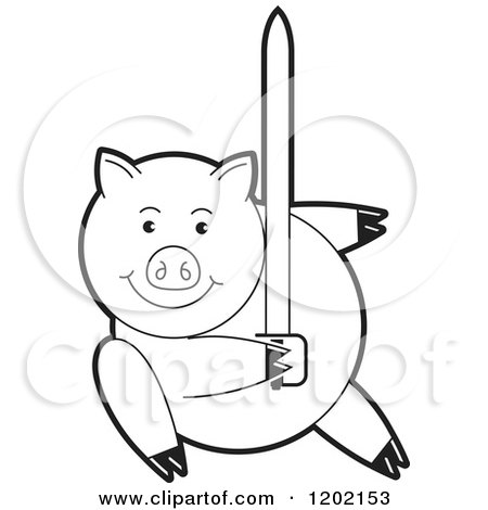 Clipart of a Black and White Pig Fighting with a Sword - Royalty Free Vector Illustration by Lal Perera