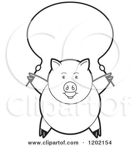 Clipart of a Black and White Pig Exercising with a Jump Rope - Royalty Free Vector Illustration by Lal Perera