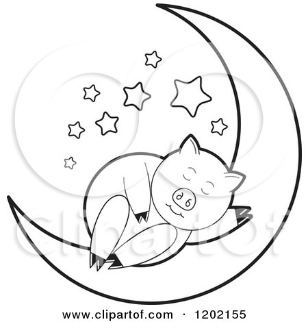 Clipart of a Black and White Pig Sleeping on a Crescent Moon - Royalty Free Vector Illustration by Lal Perera