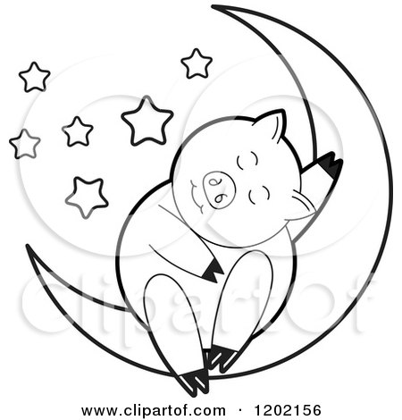 Clipart of a Black and White Pig Sleeping on a Crescent Moon 2 - Royalty Free Vector Illustration by Lal Perera