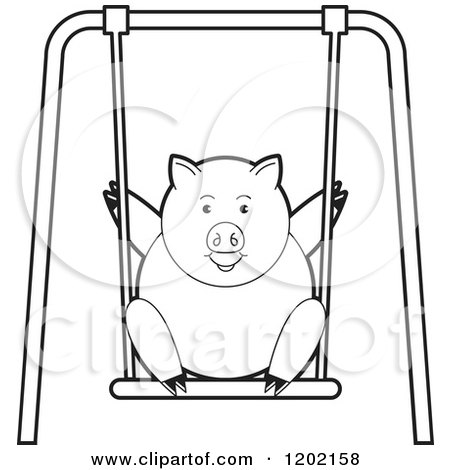 Clipart of a Black and White Pig Playing on a Swing - Royalty Free Vector Illustration by Lal Perera