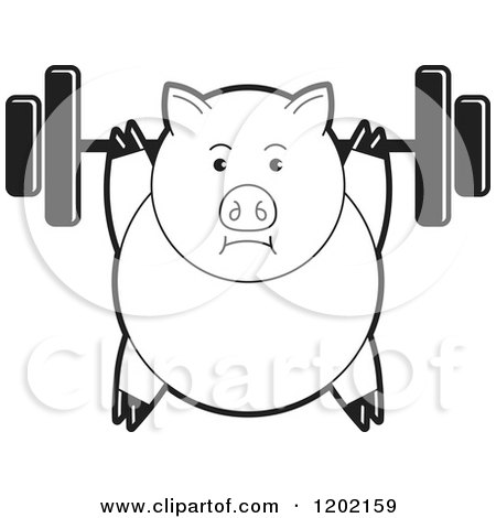 Clipart of a Black and White Fit Pig Exercising with a Heavy Barbell - Royalty Free Vector Illustration by Lal Perera