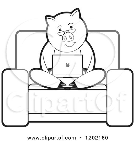 Clipart of a Black and White Pig Using a Laptop Computer on a Chair - Royalty Free Vector Illustration by Lal Perera