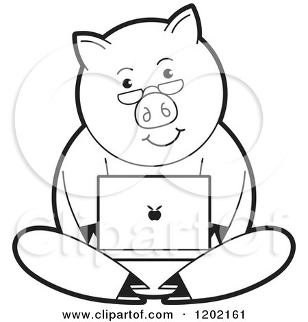 Clipart of a Black and White Pig Using a Laptop Computer - Royalty Free Vector Illustration by Lal Perera