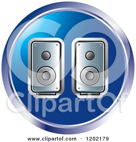 Clipart of a Round Computer Speakers Icon - Royalty Free Vector Illustration by Lal Perera