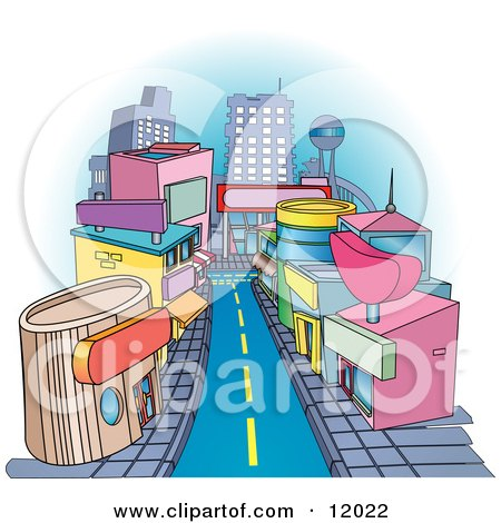 Shops Downtown in a City Clipart Illustration by AtStockIllustration