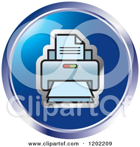 Clipart of a Round Desktop Computer Printer Icon - Royalty Free Vector Illustration by Lal Perera