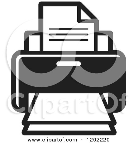 Clipart of a Black and White Desktop Computer Printer Icon - Royalty Free Vector Illustration by Lal Perera