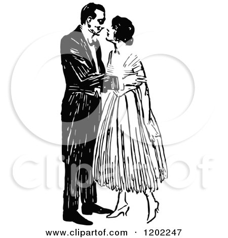 Clipart of a Vintage Black and White Kissing Couple - Royalty Free Vector Illustration by Prawny Vintage