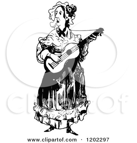 Clipart of a Vintage Black and White Music Woman - Royalty Free Vector Illustration by Prawny Vintage