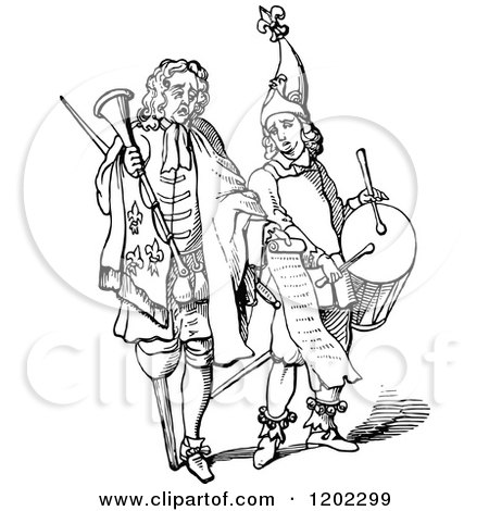 Clipart of Vintage Black and White Men with Trumpets and Drums - Royalty Free Vector Illustration by Prawny Vintage