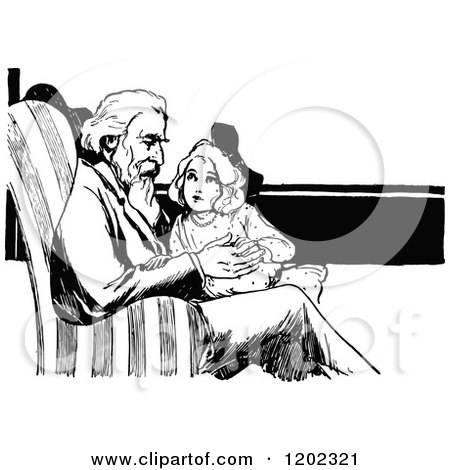 Clipart of a Vintage Black and White Oz Girl and Grandpa - Royalty Free Vector Illustration by Prawny Vintage