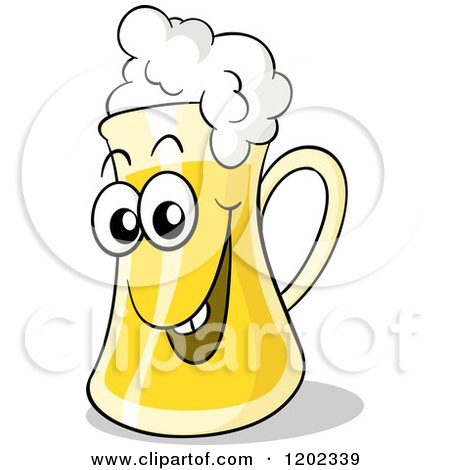 Cartoon of a Happy Beer Mug with Froth - Royalty Free Vector Clipart by Holger Bogen