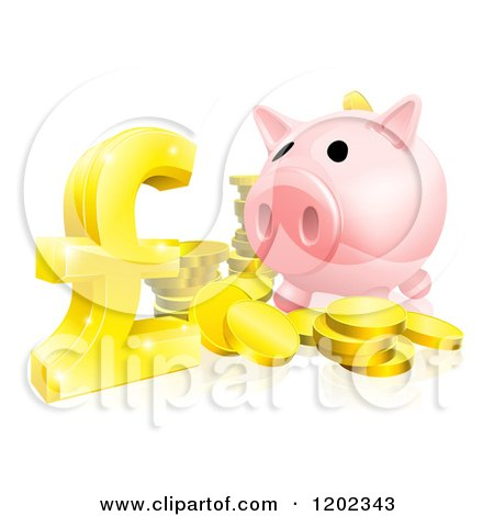 Cartoon of a Piggy Bank with Gold Coins and a Pound Sterling Symbol - Royalty Free Vector Clipart by AtStockIllustration