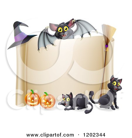 Cartoon of a Vampire Bat over a Halloween Scroll Sign with Black Cats a Broomstick Pumpkins and Witch Hat - Royalty Free Vector Clipart by AtStockIllustration