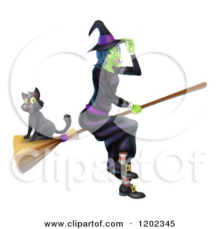 Cartoon of a Green Halloween Witch Tipping Her Hat and Flying with a Cat on a Broomstick - Royalty Free Vector Clipart by AtStockIllustration