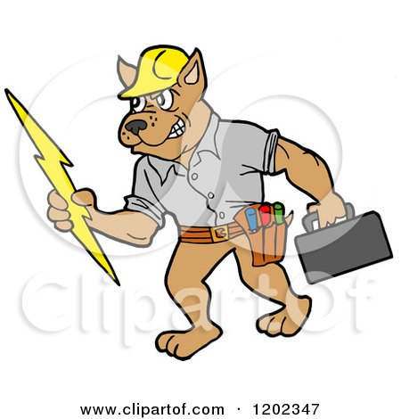 Cartoon of a Pit Bull Electrician Dog Holding a Bolt and Tool Box - Royalty Free Vector Clipart by LaffToon