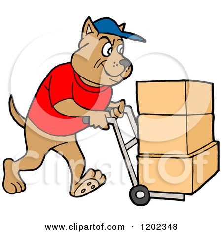 Cartoon of a Pit Bull Dog Using a Dolly to Push Moving Boxes - Royalty Free Vector Clipart by LaffToon