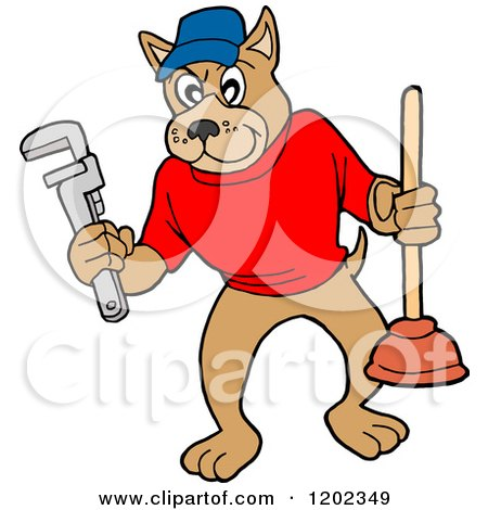 Cartoon of a Pit Bull Plumber Dog Holding a Wrench and Plunger - Royalty Free Vector Clipart by LaffToon