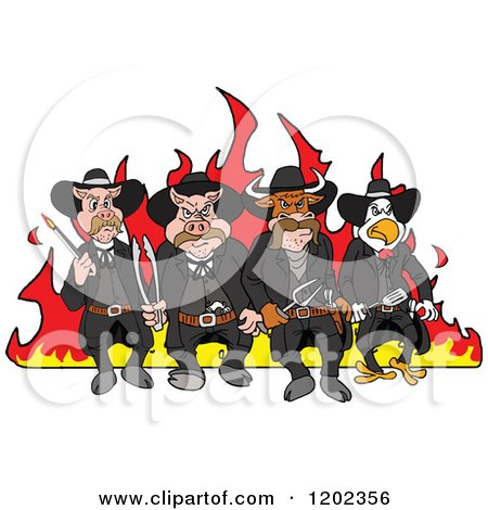 Cartoon of Tough Cow Rooster and Pig Lawmen Walking in Front of Flames with Bbq Tools - Royalty Free Vector Clipart by LaffToon