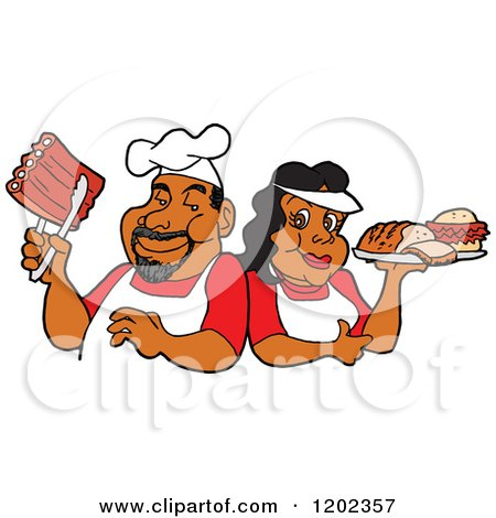 Cartoon of a Happy Black Chef Couple Holding Ribs and a Plate of Bbq Foods - Royalty Free Vector Clipart by LaffToon