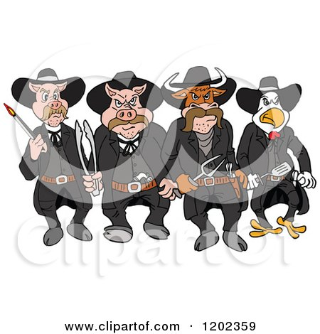 Cartoon Of Tough Cow Rooster And Pig Lawmen Walking Forward With Bbq Tools Royalty Free Vector Clipart