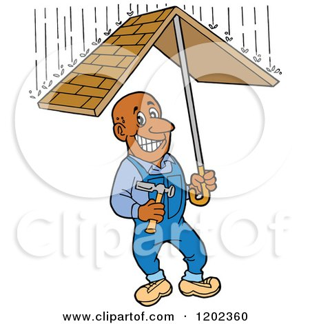 Cartoon of a Happy Black Roofer Man Holding a Roof Umbrella Under Raindrops - Royalty Free Vector Clipart by LaffToon