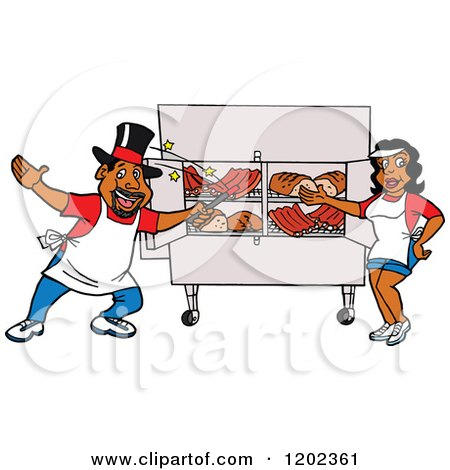 Cartoon of a Happy Black Magician Chef Man and Lady Presenting a Bbq Meat Display - Royalty Free Vector Clipart by LaffToon