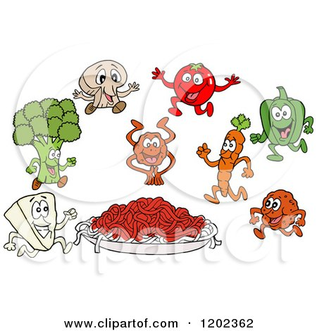 Cartoon of a Plate of Spaghetti Noodles and Sauce with Ingredient Characters - Royalty Free Vector Clipart by LaffToon