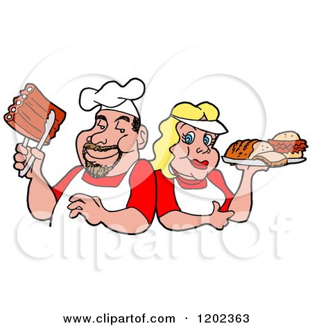 Cartoon of a Happy White Chef Couple Holding Ribs and a Plate of Bbq Foods - Royalty Free Vector Clipart by LaffToon
