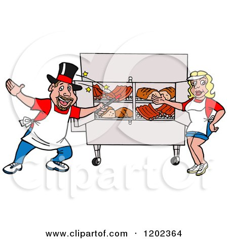 Cartoon of a Happy White Magician Chef Man and Lady Presenting a Bbq Meat Display - Royalty Free Vector Clipart by LaffToon