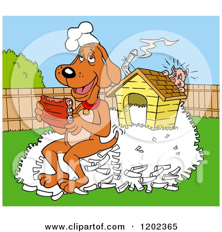 Cartoon of a Happy Hound Dog Chef Eating Ribs on a Pile of Bones by His House, a Pig Hiding - Royalty Free Vector Clipart by LaffToon