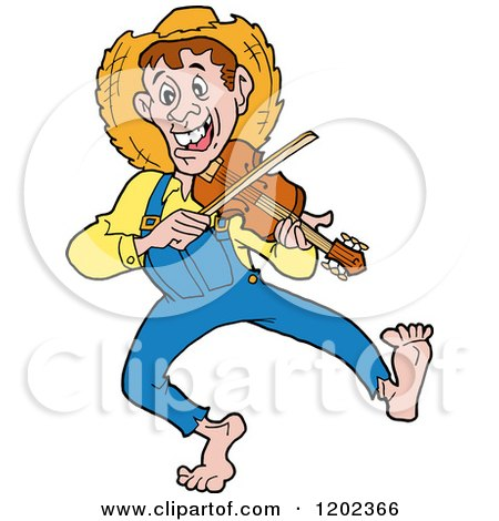 Cartoon of a Happy Hillbilly Man Dancing and Playing a Fiddle - Royalty Free Vector Clipart by LaffToon