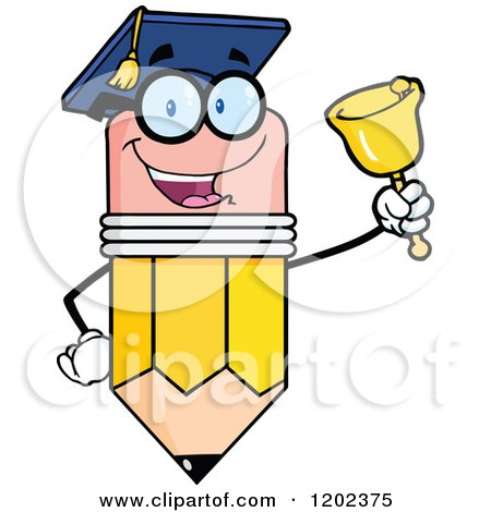 Cartoon of a Graduate Pencil Teacher Mascot Ringing a Bell - Royalty Free Vector Clipart by Hit Toon