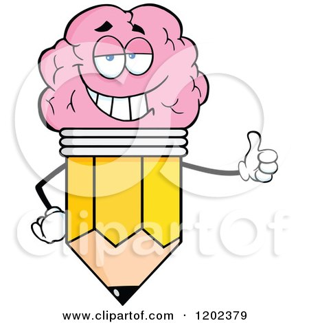 Cartoon of a Pleased Brain Pencil Mascot Holding a Thumb up - Royalty Free Vector Clipart by Hit Toon