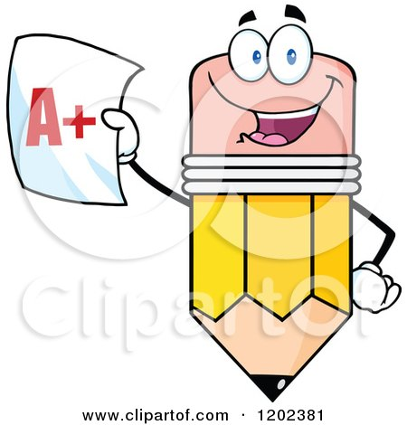 Cartoon of a Pencil Mascot Holding up a Report Card - Royalty Free Vector Clipart by Hit Toon