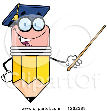 Cartoon of a Graduate Pencil Teacher Holding a Pointer Stick - Royalty Free Vector Clipart by Hit Toon