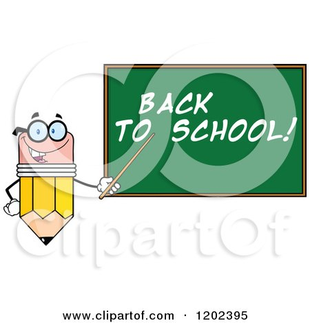 Cartoon of a Pencil Teacher Mascot Using a Pointer Stick by a Back to School Chalk Board - Royalty Free Vector Clipart by Hit Toon