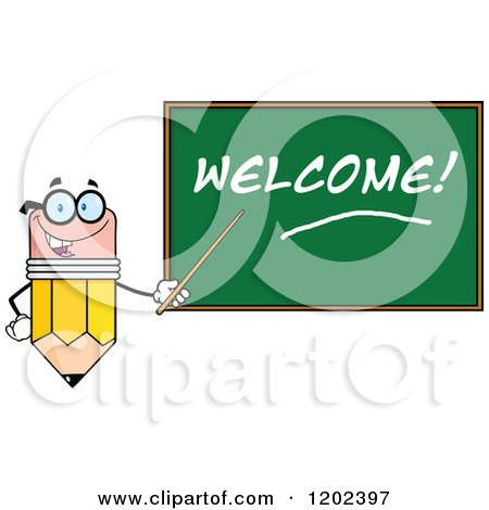 Cartoon of a Pencil Teacher Mascot Using a Pointer Stick by a Welcome Chalk Board - Royalty Free Vector Clipart by Hit Toon