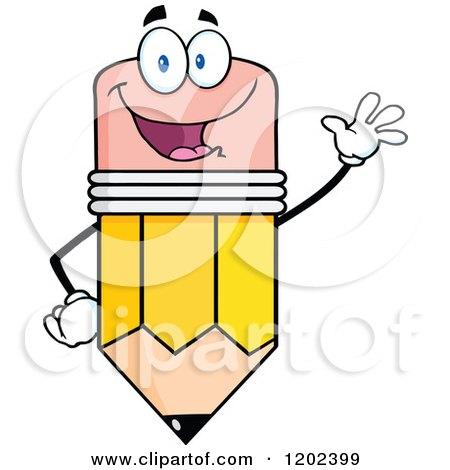 Cartoon of a Waving Pencil Mascot - Royalty Free Vector Clipart by Hit Toon